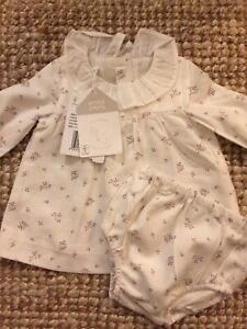 Chicco Baby Cotton Lined Dress with Matching Bloomers Newborn / 1 Month