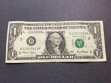 """$1 Dollar Bill Series 2001 (New York), """"Short Repeater"""" Serial Number 17217213"""