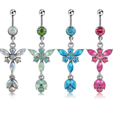 Belly Button Piercing Bar Bars Stainless Steel Silver Dangle Drop Gem Navel Ring