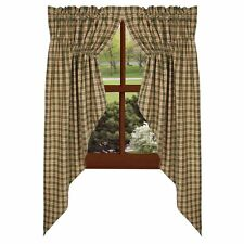 Farmhouse new Green plaid lined window swag