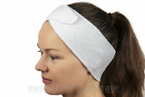 White STRETCHY terry towelling toweling headband with fastening