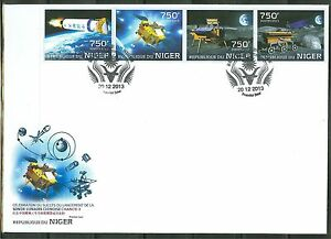 "NIGER 2013 ""CHINA LUNAR PROBE CHANG-E-3"" STRIP OF FOUR STAMPS FDC"