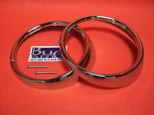 VW Cox 1974> : 2 Cerclages de Phare av métal chromé + vis Germany 16-037 x2