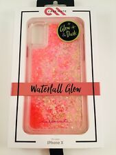 Case Mate Waterfall Glow in the Dark iPhone X, and Xs Pink Cascading Glitter