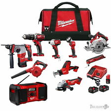 MILWAUKEE 18V M18 M12 10 PC BRUSHED TOOL LITHIUM-ION KIT INCLUDES 3-MODE ROTARY