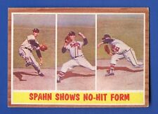 1962 Topps # 312 Warren Spahn Shows No-Hit Form  HOF  Milwaukee Braves  EX