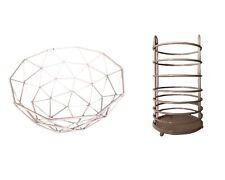 Home Blush Pink Metal Geometric Fruit Basket & Utencil Holder Bundle Set