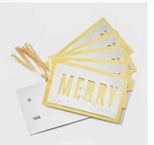New Die Cut Metallic Merry Christmas Gift Tags White Marble