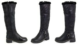 Womens Ladies Knee High Wide Calf Fit Boots Buckle Strap Flat Shoes Faux Leather