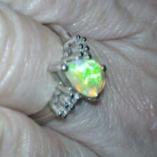 Ethiopian Opal & White Zircon Sterling Silver Ring 1cts