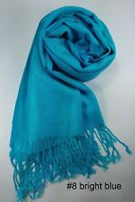 New Lady Scarf Women Shawl Winter Wrap Solid Pure Color Long Bright Blue MIT