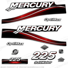 2005 Mercury Red 225hp Optimax Saltwater Outboard Engine Decals Reproductions