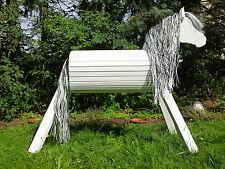 110cm Holzpferd Holzpony Voltigierpferd Pferd Schimmel lasiert NEU