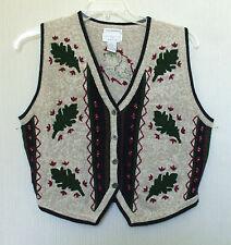 Christopher & Banks Size M Beige Green Burgundy Oak Leaves Sweater Vest