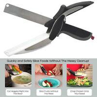 Clever Cutter 2 in 1 Schneidebrett und Klinge Schere Edelstahl Küchen Werkzeuge