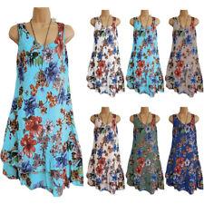 Womens Floral Chiffon Midi Dress Ladies Summer Beach Loose Long Top Plus Size