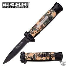 MC TAC-FORCE USA Knife STILETTO Coltello Coltellino Coltello Pieghevole Nero Camo