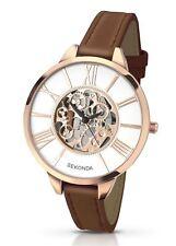 Sekonda Ladies Editions Rose Gold Tone Watch Skeleton Dial Brown Strap 2315