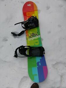 "Radical Crunchy Boys Snowboard. 140 sm. (54"") With boot bindings"