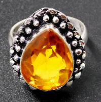 Citrine Quartz 925 Sterling Silver Plated Handmade Jewelry Ring UK Size-O 1/2