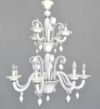 Lustre Murano verre opaline blanche à pampilles 12 feux