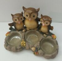 Yankee Candle Triple Owl Tea-Light Candle Holder Brown Autum Fall Owls 2012