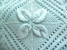 "Hand Knitted Blanket Throw Blue Acrylic Flowers Pattern with 3D Petals 65""x87"""