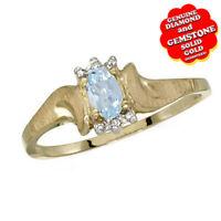 0.34 Ct Aquamarine & Real Diamond 14k Yellow Gold Solitaire Engagement Ring
