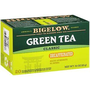TEA BIGELOW GREEN TEA DECAFFEINATED Herbal Plus PROBIOTICS (20 bags x 1 box)