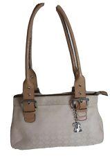 NINE WEST Signature Canvas Fabric Biege Shoulder Bag Authentic