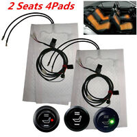 2Seat Carbon Fiber High/Low Round Switch Heated Seat Warmer Car Seat Heater Pads
