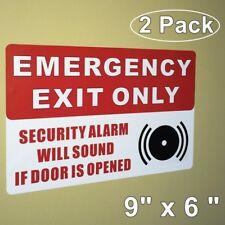 2 EMERGENCY EXIT ONLY SECURITY ALARM WILL SOUND Door Warning Vinyl Sticker Decal