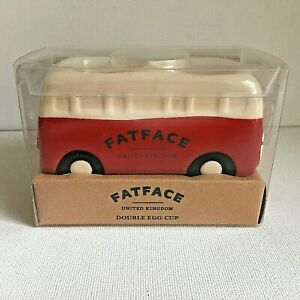 Boxed Fat Face Camper Van Double Egg Cup Collectable Red Cream Ceramic Quirky