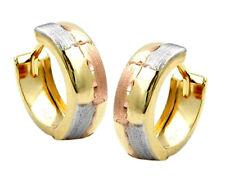 375 ECHT GOLD *** Kleine Creolen Ohrringe tricolor diamantiert 12 mm
