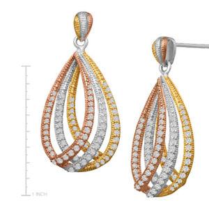 2.54ctw NATURAL DIAMOND 14K ROSE YELLOW WHITE GOLD SCREW BACK DANGLER EARRING