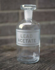 Vintage Etched Glass Pharmacy Chemist Apothecary Bottle & Stopper - Lead Acetate