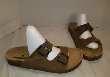 NEW AMERICAN EAGLE MEN'S BROWN SUEDE DOUBLE BUCKLE SLIDE SANDALS US 11