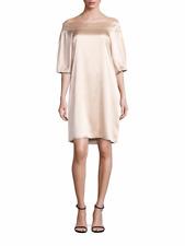Tibi Champagne Silk Off-The-Shoulder Dress 10 NWT