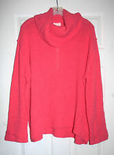 Caslon XXL Womens Bright Coral Cowl Neck Pullover Sweater Cotton Blend NWT