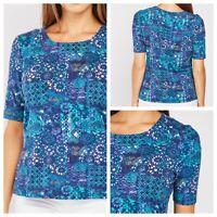 HONOR MILLBURN Ladies Blue Top Size 20 EWM Stretchy Short Sleeve Smart NEW NWT