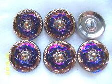 """CZECH GLASS BUTTONS (6 pcs) 11/16""""- 18mm  24K GOLD  US  S 015"""