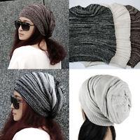 Women Men Warm Winter Baggy Beanie Knit Crochet Oversized Hat Slouch Cap 2017 hi