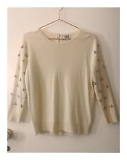 Womens Designer Not Shy White Beaded Cashmere Jumper Top Size S