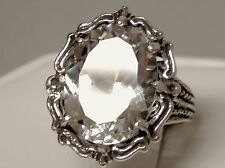 12ct white sapphire filigree antique 925 sterling silver ring size 5.5 USA