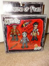 "MEZCO Cinema Of Fear Mez-Its 3"" Figure Jason Voorhees Freddy Leatherface SIGNED"