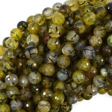 """10mm faceted agate round beads 15"""" strand green black"""