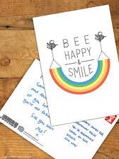 Brainbox Candy 'Bee Happy' Postcard Funny Comedy Cute Humour Novelty Rainbow