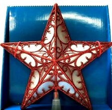 The Holiday Aisle 9'' Glitter Star Cut-Out Design Christmas Red Tree Topper