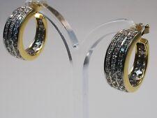 Hoop Omega back Yellow Gold Fine Diamond Earrings