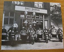 VINTAGE HARLEY DAVIDSON MOTORCYCLE SHOP PHOTOGRAPH PRINT ~ BIKES SIDECARS ~ OLD